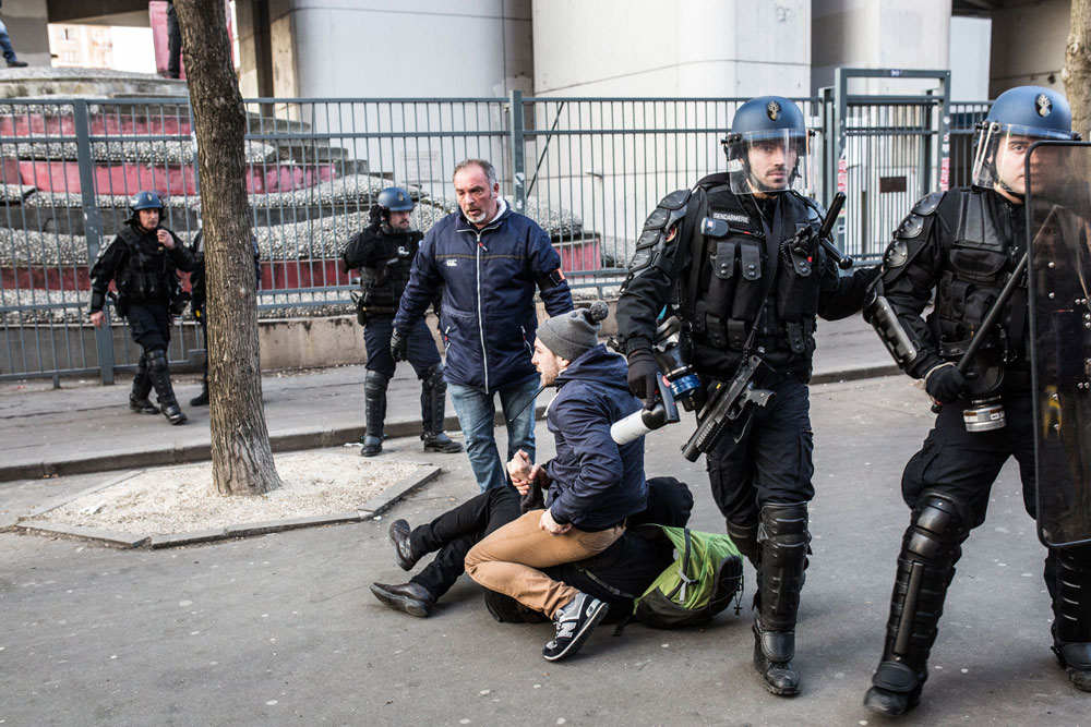 17 mars 2016 : Arrestation devant l'université de Tolbiac, Paris